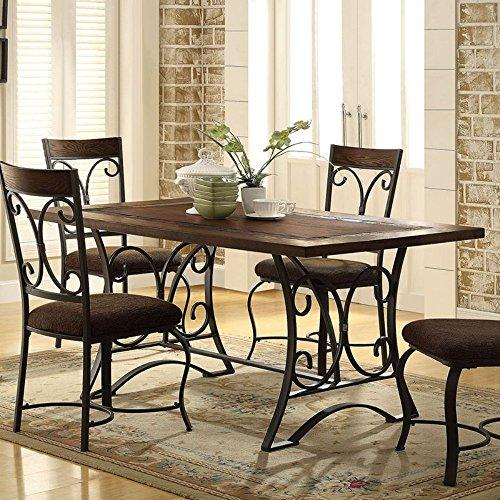 Acme Furniture Acme 72250 Hakesa Dining Table, Cherry & Antique Black