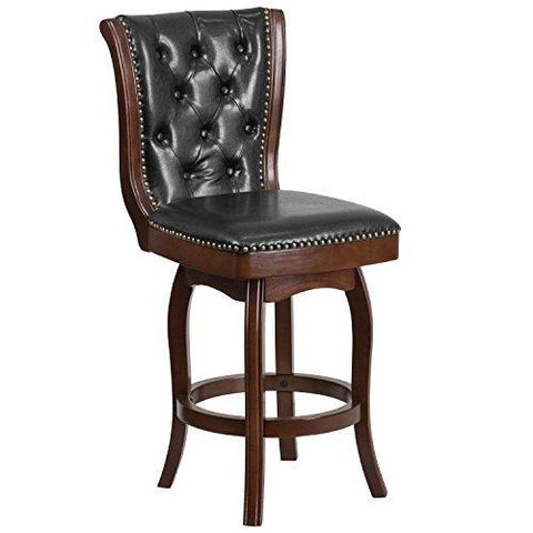 Flash Furniture 26 High Cappuccino Wood Counter Height Stool With Black Leather Swivel Seat