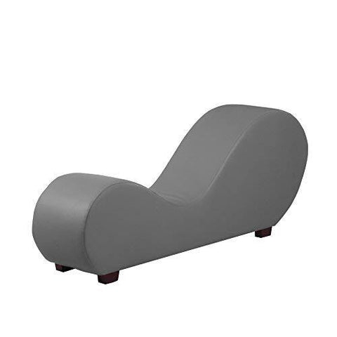Divano Roma Furniture Modern Bonded Leather Chaise Lounge Yoga Chair For Stretching And Relaxation (Grey)