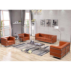 Flash Furniture Hercules Regal Series Contemporary Cognac Leather Loveseat With Encasing Frame