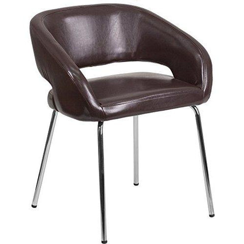 Flash Furniture Fusion Series Contemporary Brown Leather Side Reception Chair