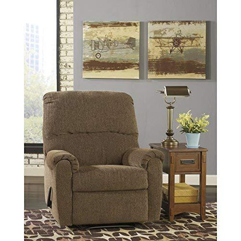 Flash Furniture Signature Design By Ashley Pranit Wall Hugger Recliner In Walnut Chenille