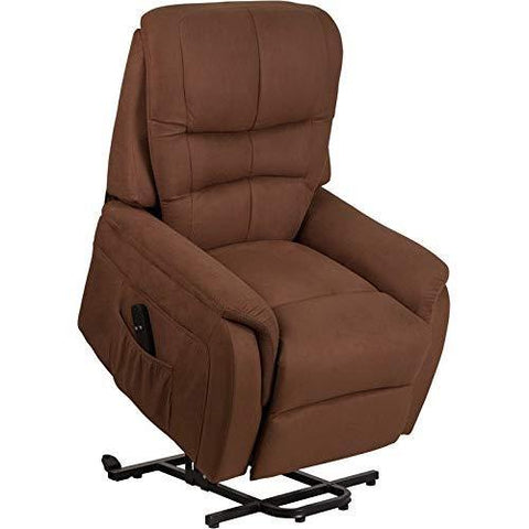 Flash Furniture Hercules Series Brown Microfiber Remote Powered Lift Recliner