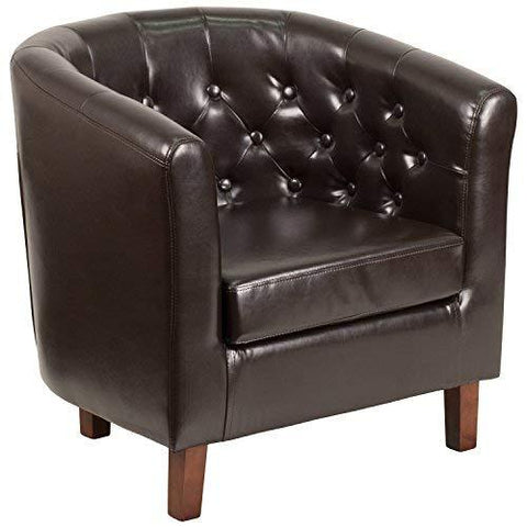 Flash Furniture Hercules Cranford Series Brown Leather Tufted Barrel Chair