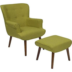 Flash Furniture Bayton Upholstered Wingback Chair With Ottoman In Green Fabric