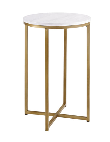 "16"" Round Side Table - Marble/Gold"
