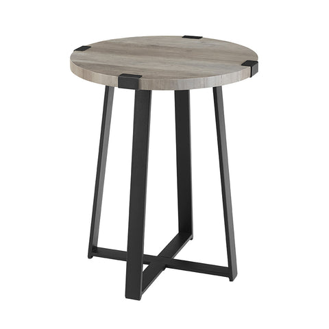 "18"" Rustic Urban Industrial Wood and Metal Wrap Round Accent Side Table - Grey Wash"