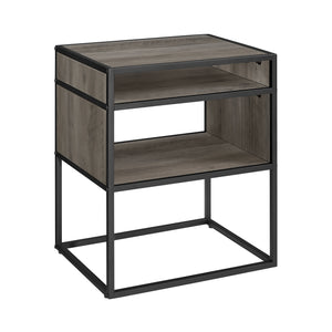 "20"" Metal and Wood Side Table with Open Shelf - Grey Wash"