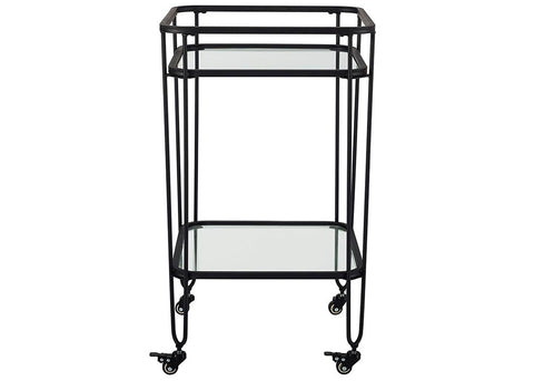 "35"" Urban Industrial Metal and Glass Serving Bar Cart - Black"