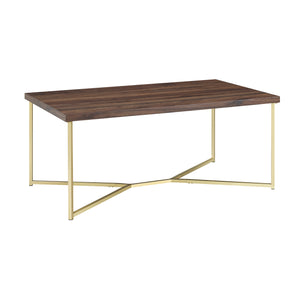 "42"" Y-Leg Coffee Table - Dark Walnut/Gold"