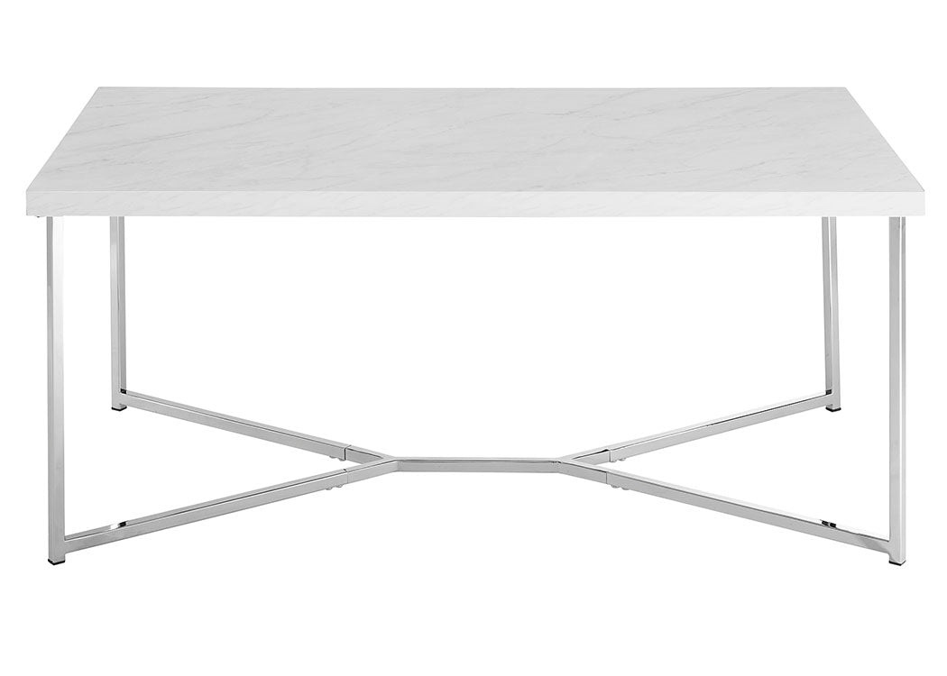 "42"" Mid Century Modern Transitional Y-Leg Coffee Table - White Faux Marble/Chrome"
