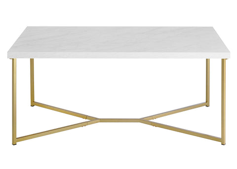 "42"" Mid Century Modern Transitional Y-Leg Coffee Table - White Faux Marble/Gold"