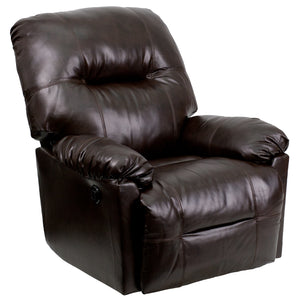 Contemporary Bentley Brown Leather Chaise Power Recliner with Push Button - AM-CP9350-9075-GG