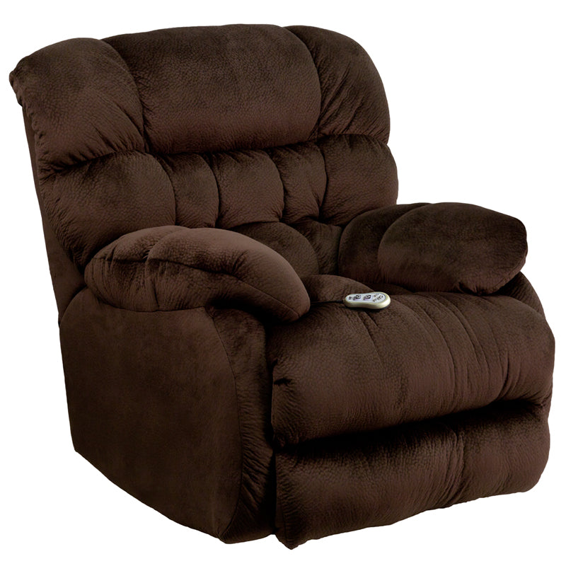 Massaging Sharpei Chocolate Microfiber Rocker Recliner with Heat Control