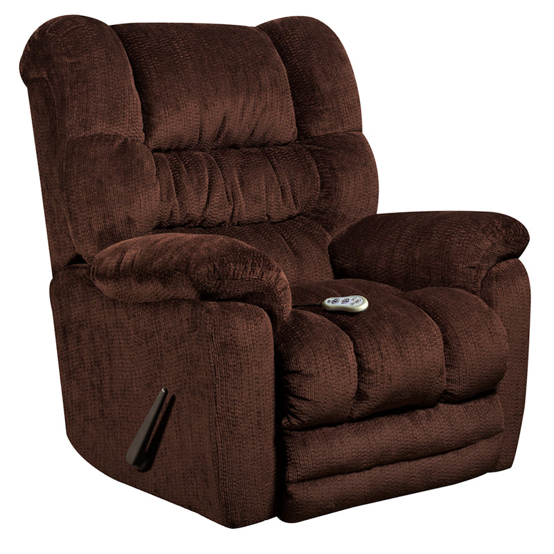 Massaging Temptation Mahogany Microfiber Rocker Recliner with Heat Control