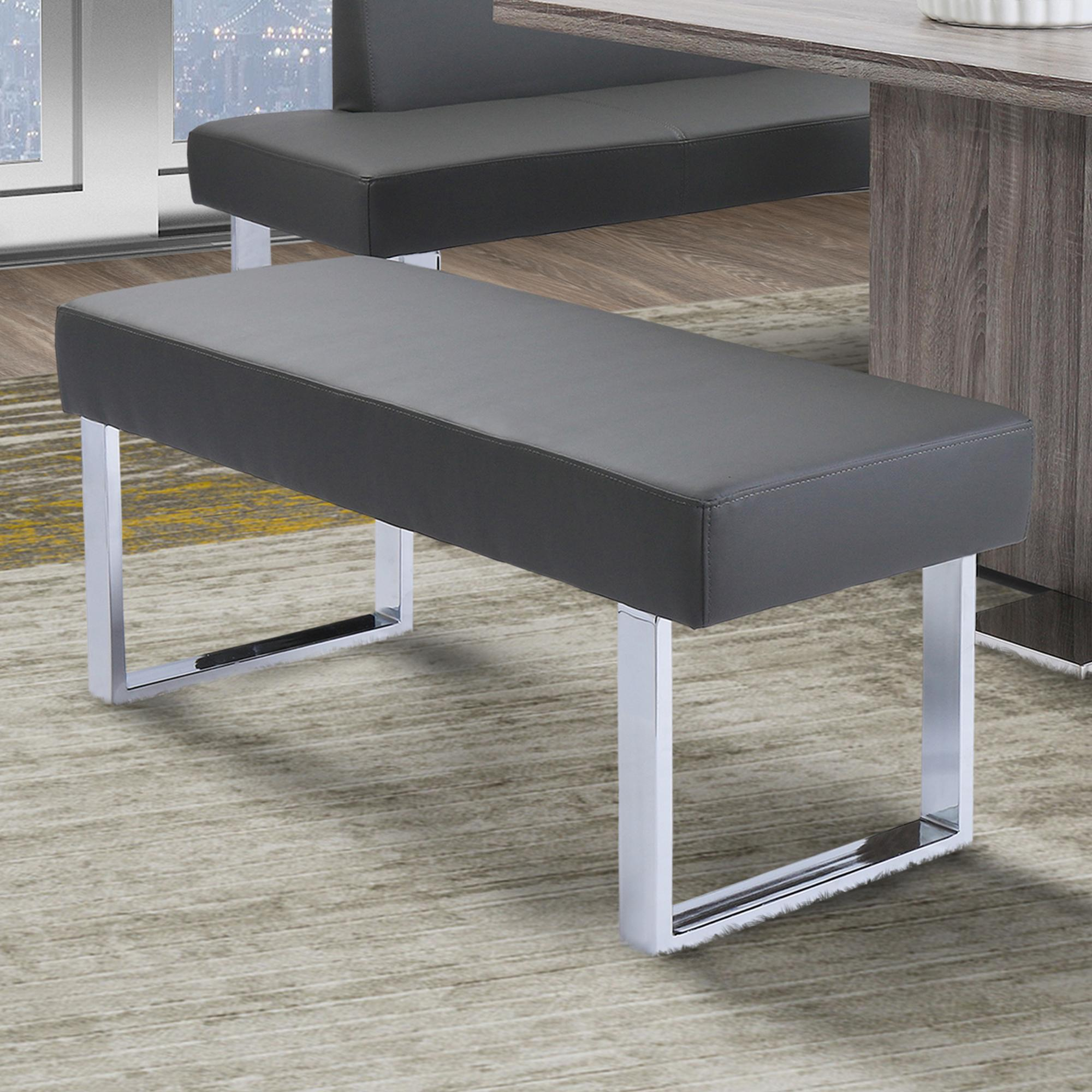 Armen Living Amanda Contemporary Dining Bench in Gray Faux Leather and Chrome Finish