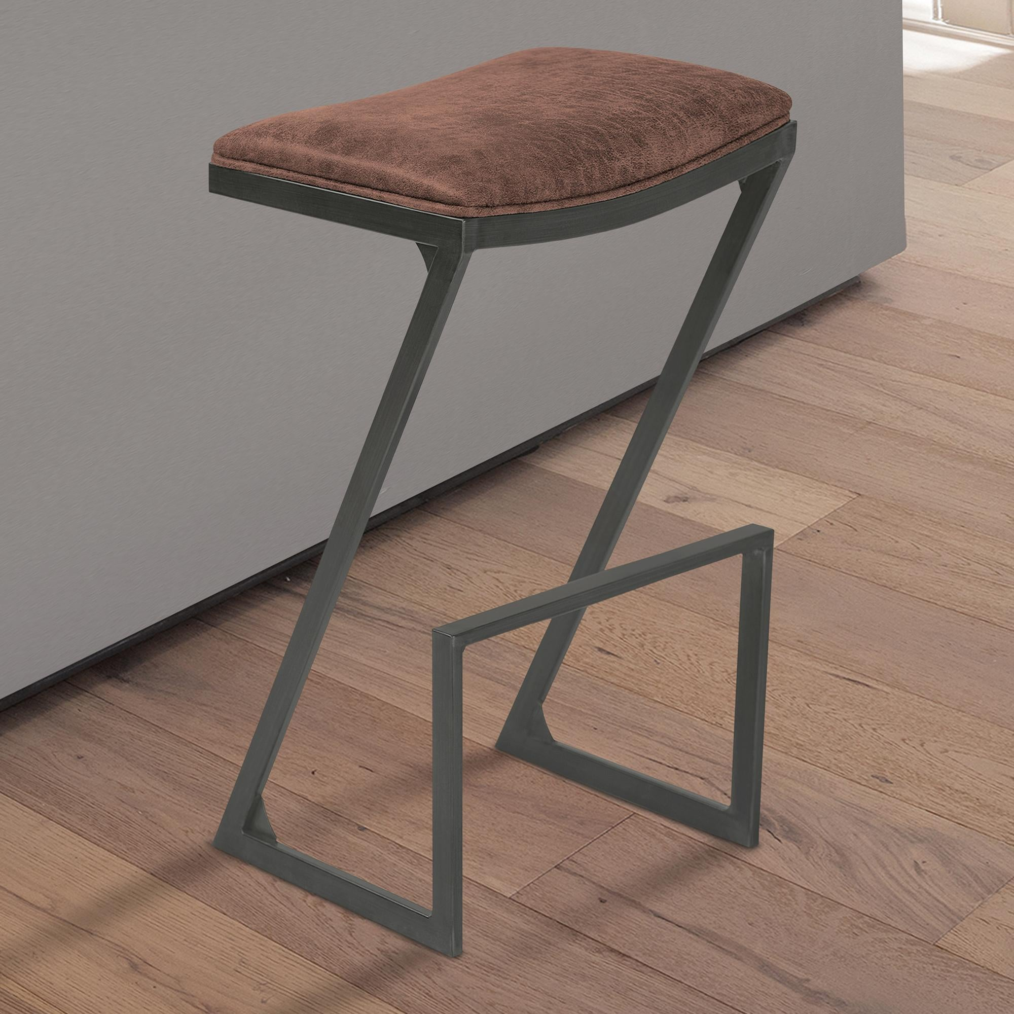 Armen Living Atlantis 26' Counter Height Backless Barstool in Mineral finish with Bandero Tobacco Fabric