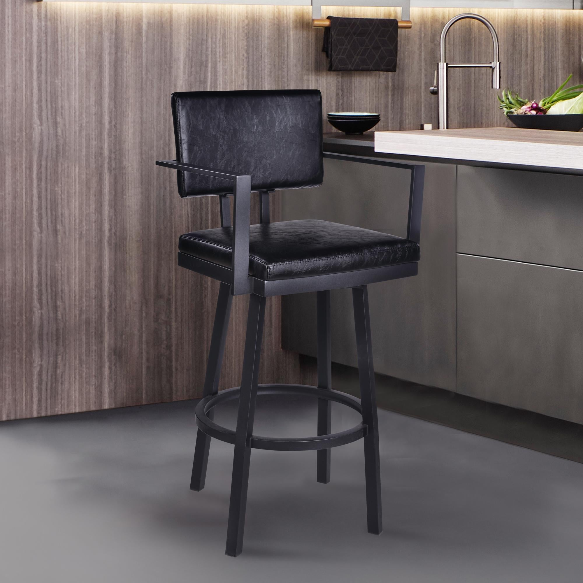 Armen Living Balboa 30 Bar Height Barstool with Arms in Black Powder Coated Finish and Vintage Black Faux Leather