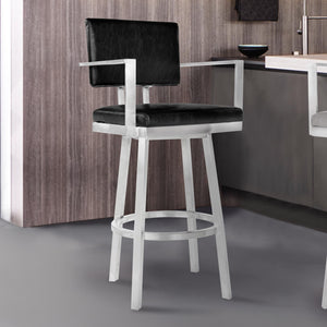 Armen Living Balboa 26 Counter Height Barstool with Arms in Brushed Stainless Steel and Vintage Black Faux Leather