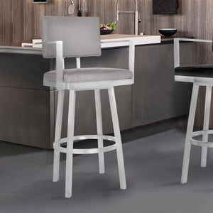 Armen Living Balboa 30 Bar Height Barstool with Arms in Brushed Stainless Steel and Vintage Gray Faux Leather