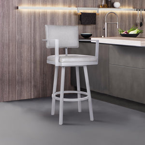 Armen Living Balboa 30 Bar Height Barstool with Arms in Gray Powder Coated Finish and Vintage Gray Faux Leather