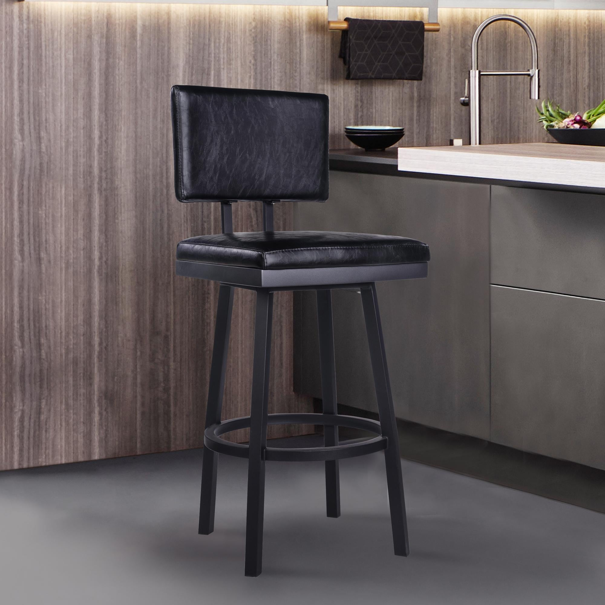 Armen Living Balboa 26 Counter Height Barstool in Black Powder Coated Finish and Vintage Black Faux Leather