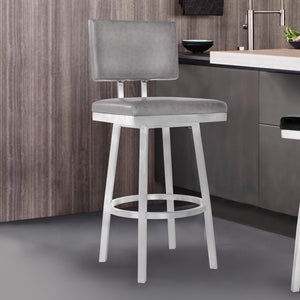 Armen Living Balboa 30 Bar Height Barstool in Brushed Stainless Steel and Vintage Grey Faux Leather