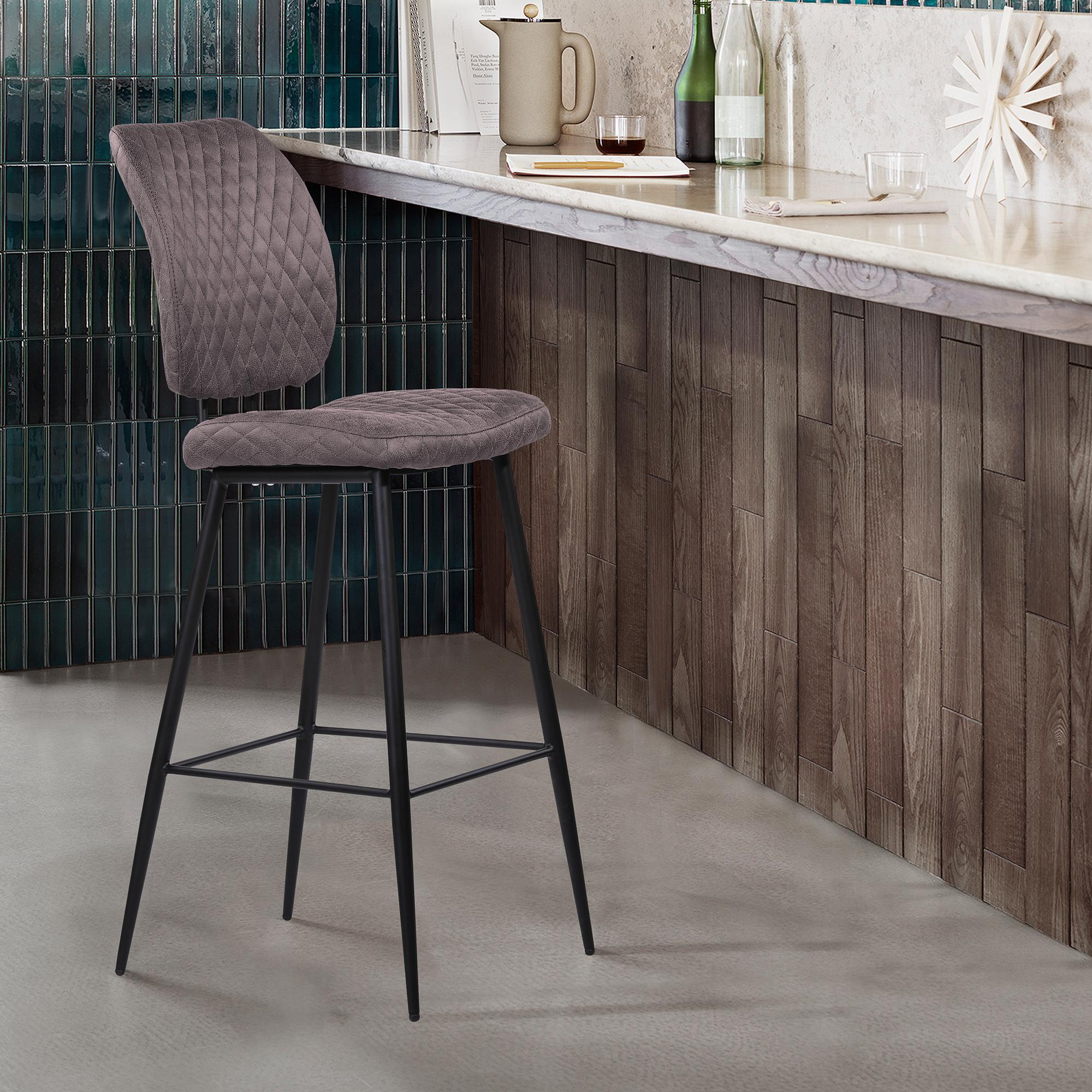 Armen Living Buckley Contemporary 30' Bar Height Barstool in Matte Black Powder Coated Finish and Grey Fabric