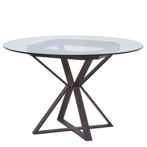 Armen Living Cairo Round Dining Table in Auburn Bay Finish and 48' Glass Top