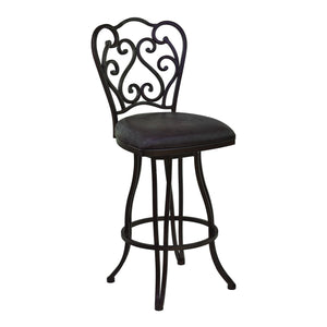 Armen Living Celeste 26' Counter Height Metal Swivel Barstool in Bandero Espresso Fabric and Auburn Bay Finish