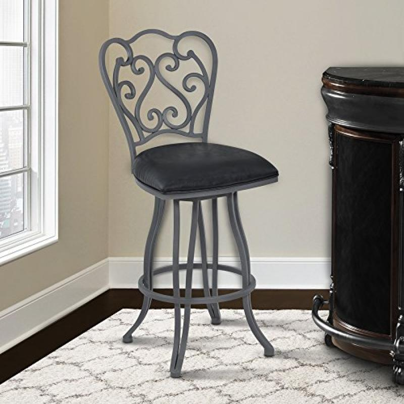Armen Living Celeste 26' Counter Height Metal Swivel Barstool in Vintage Black Faux Leather and Cadet Gray Finish