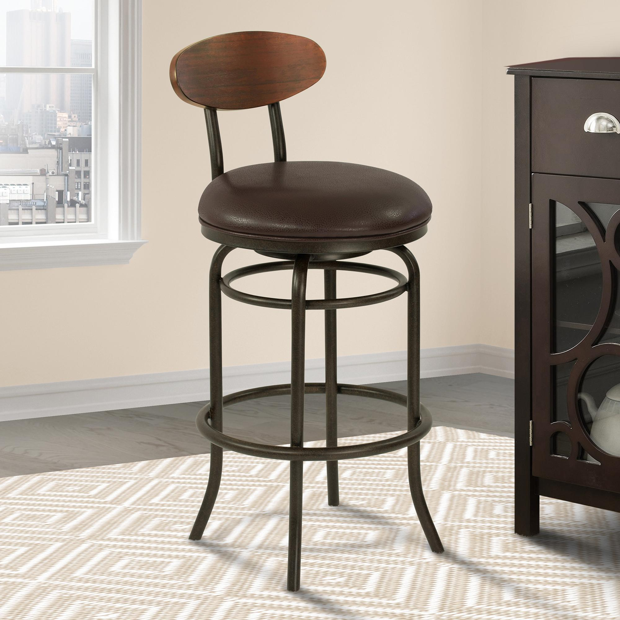 Armen Living Davis Mid-Century 30' Bar Height Metal Swivel Barstool in Auburn Bay Finish with Ford Brown Leather and Sedona Wood Back