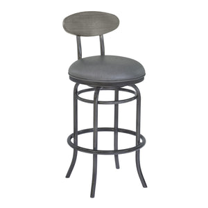 Armen Living Davis 26' Counter Height Metal Swivel Barstool in Vintage Gray Faux Leather with Mineral Finish and Gray Walnut Wood Back