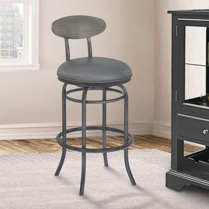 Armen Living Davis 30' Bar Height Metal Swivel Barstool in Vintage Gray Faux Leather with Mineral Finish and Gray Walnut Wood Back