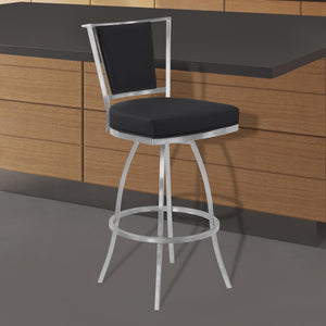 Armen Living Delhi 30' Bar Height Metal Swivel Barstool in Black Faux Leather with Brushed Stainless Steel Finish and Gray Walnut Back