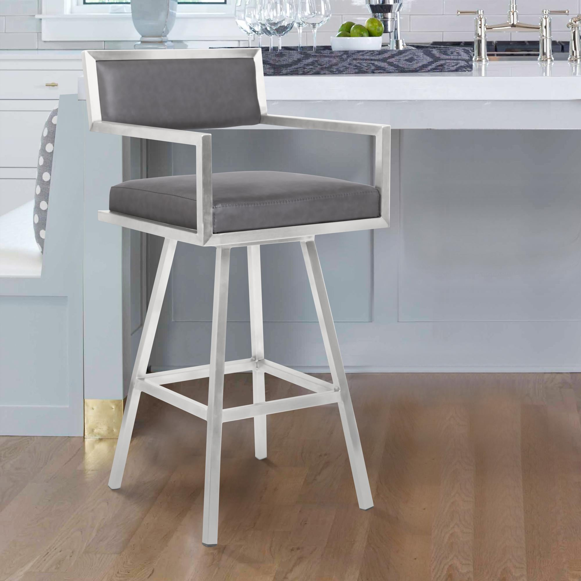 Armen Living Dylan 30' Bar Height Barstool in Brushed Stainless Steel and Vintage Grey Faux Leather