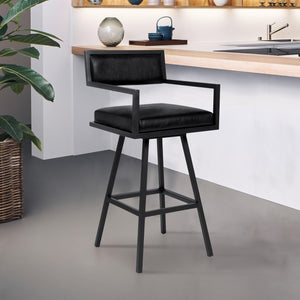 Armen Living Dylan 26' Counter Height Barstool in Black Powder Coated Finish and Vintage Black Faux Leather