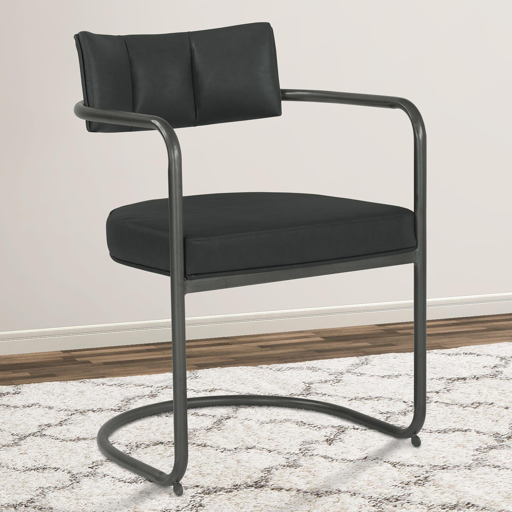 Armen Living Denis Contemporary Metal Dining Chair in Mineral Finish with Vintage Black Faux Leather