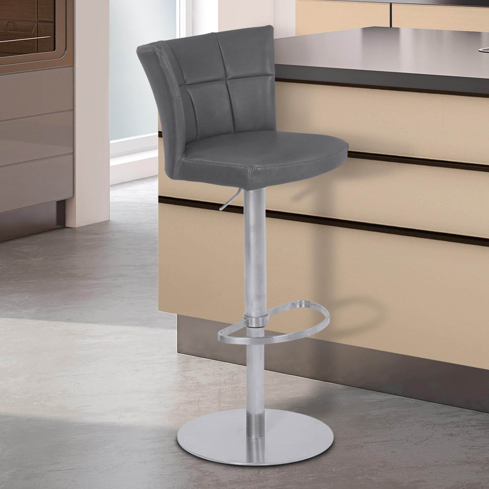 Armen Living Encore Adjustable Metal Barstool in Vintage Gray Faux Leather with Brushed Stainless Steel Finish