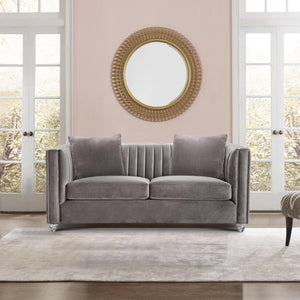 Armen Living Emperor Contemporary Loveseat with Acrylic Finish, Beige Fabric and Pillows