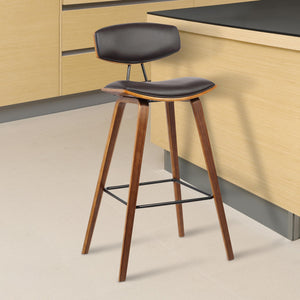 Armen Living Fox 30' Mid-Century Bar Height Barstool in Brown Faux Leather with Walnut Wood
