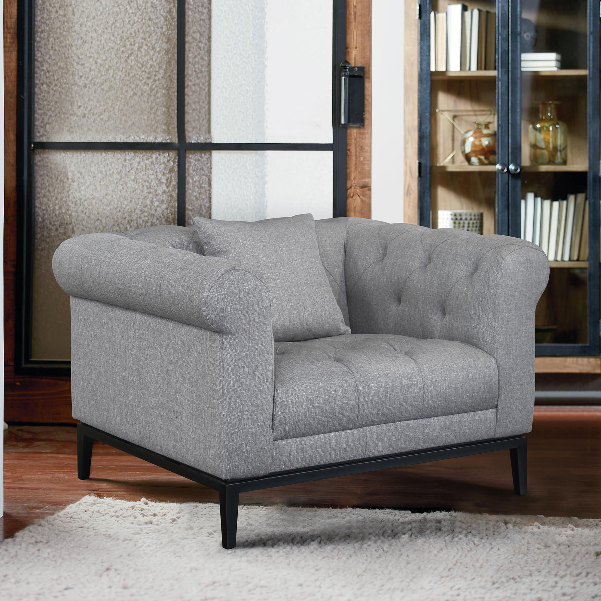 Armen Living Glamour Contemporary Chair with Black Iron Finish Base and Grey Fabric