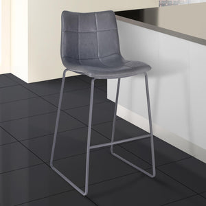 Armen Living Hamilton 30' Bar Height Barstool in Grey Powder Coated finish with Vintage Grey Faux Leather