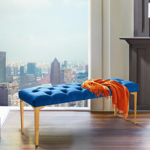 Armen Living Hayley Contemporary Bench in Blue Velvet and Gold Stainless Steel Finish