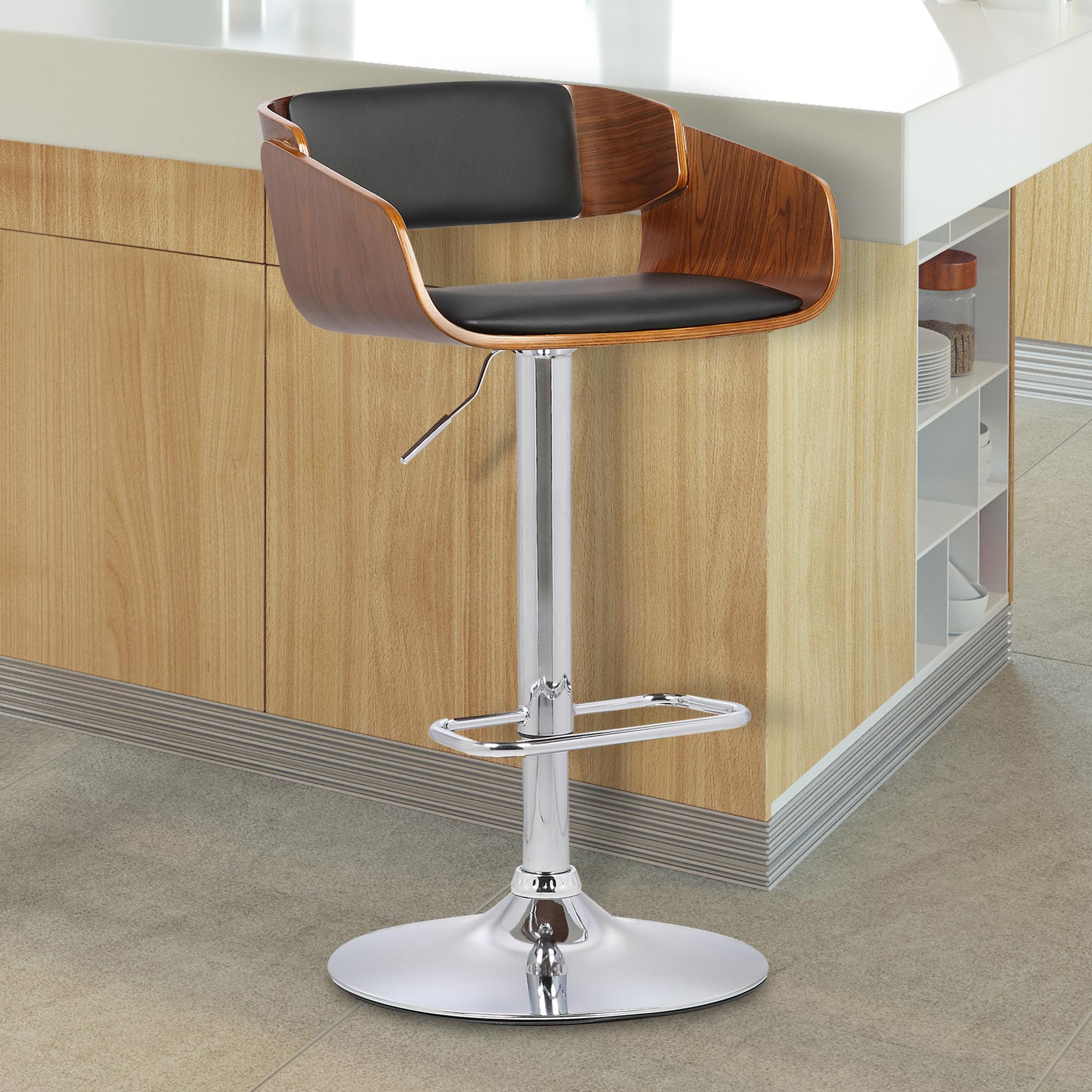 Armen Living Jenny Mid-Century Adjustable Swivel Barstool in Chrome finish with Black Faux Leather and Walnut Wood