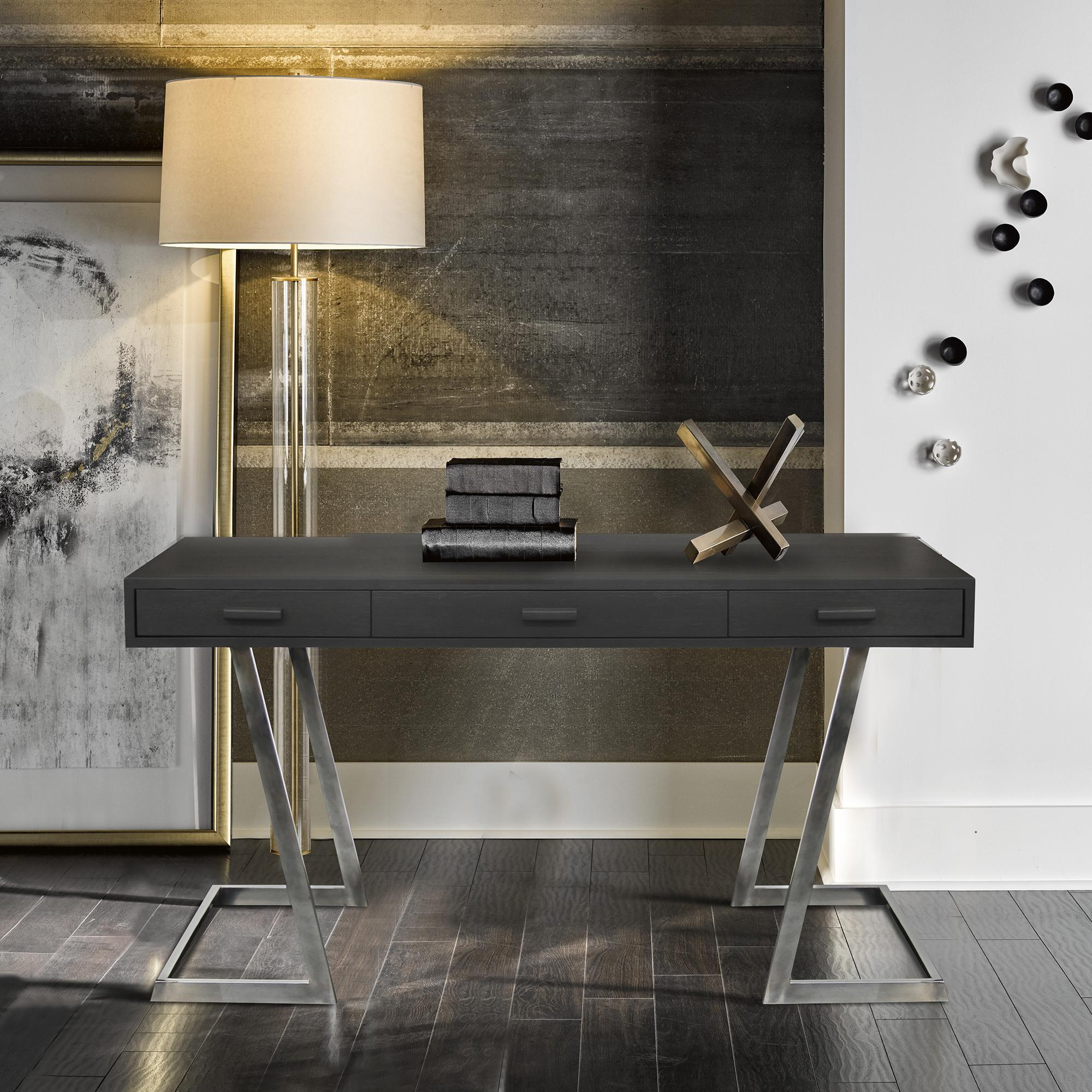 Armen Living Juniper Contemporary Desk with Polished Stainless Steel Finish and Grey Top