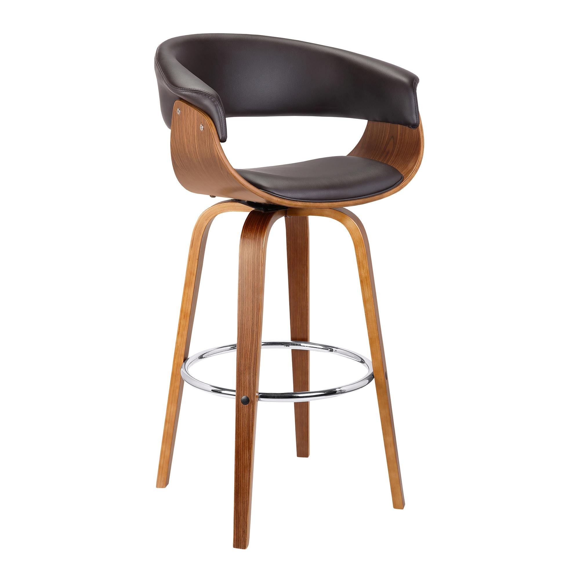 Armen Living Julyssa 26' Mid-Century Swivel Counter Height Barstool in Brown Faux Leather with Walnut Wood