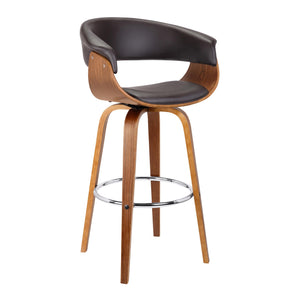Armen Living Julyssa 30' Mid-Century Swivel Bar Height Barstool in Brown Faux Leather with Walnut Wood
