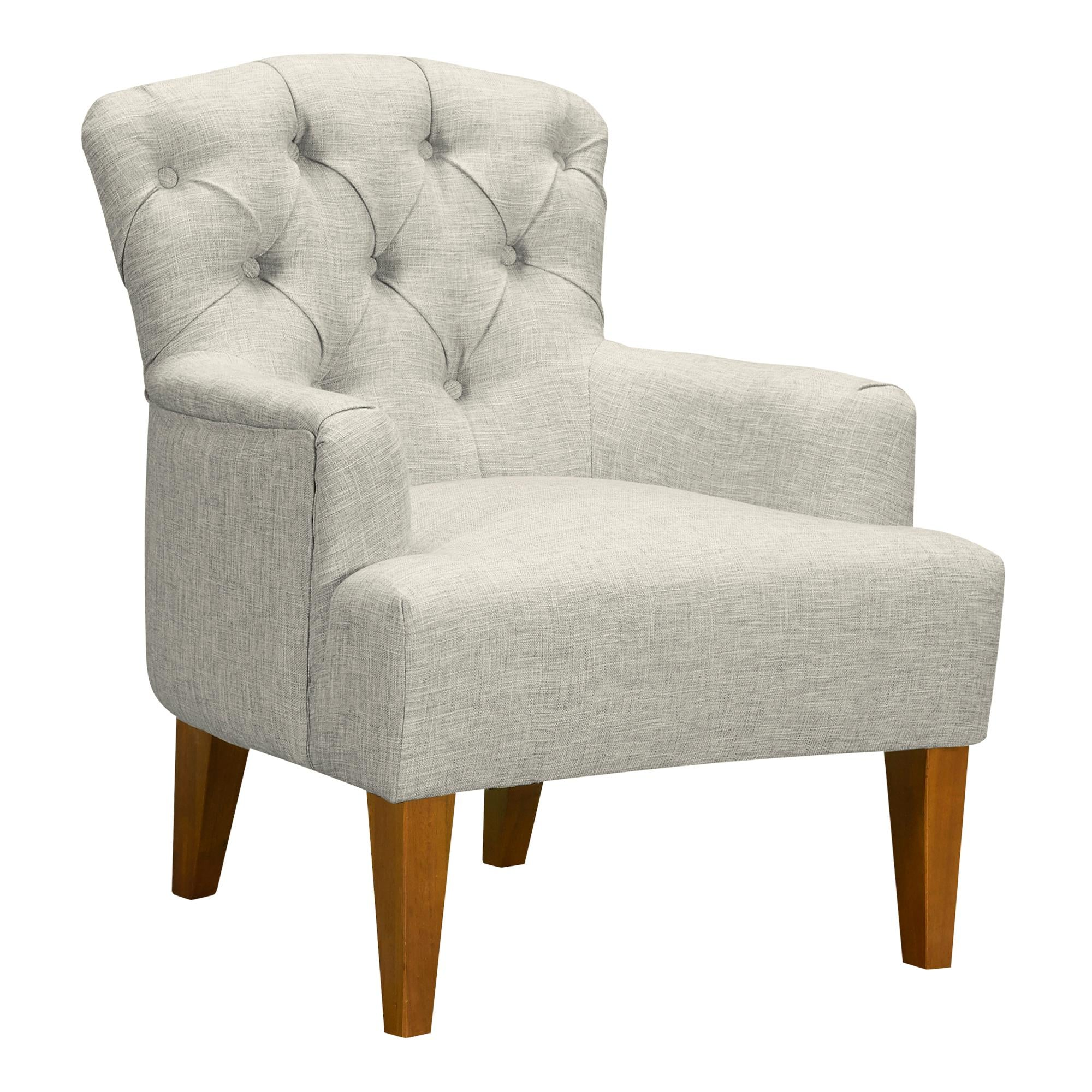 Jewel Mid-Century Accent Chair in Champagne Wood Finish and Beige Fabric