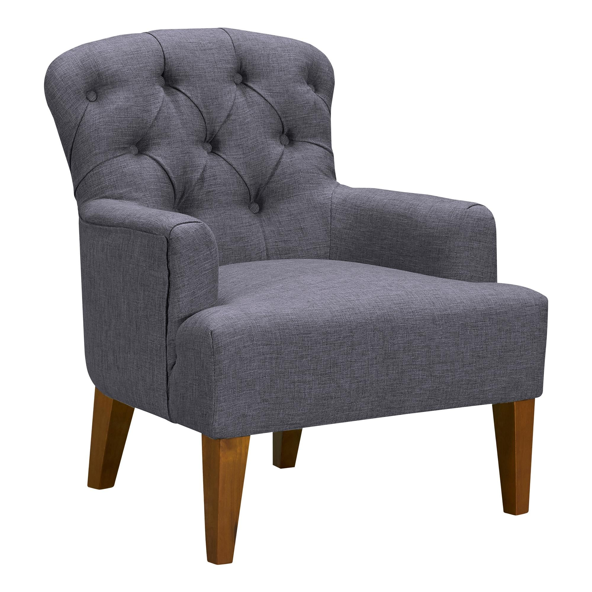 Jewel Mid-Century Accent Chair in Champagne Wood Finish and Dark Grey Fabric